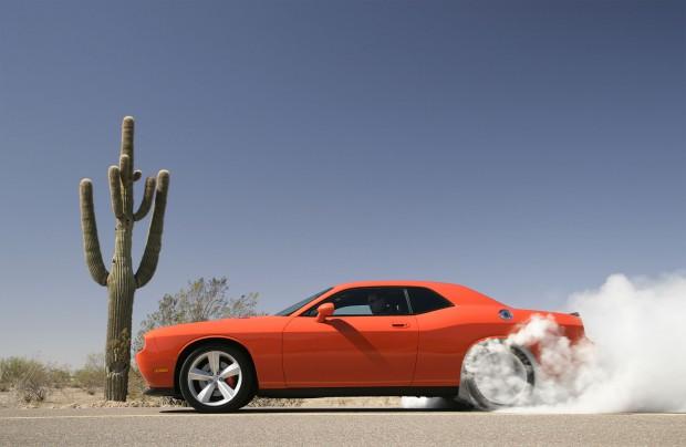 Profile, driver's side, tires smoking, 2008 Dodge Challenger SRT8