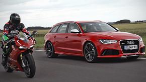 Duelo de extremos: o Audi RS6 Avant enfrenta a Ducati 1199 Panigale. Quem vence?