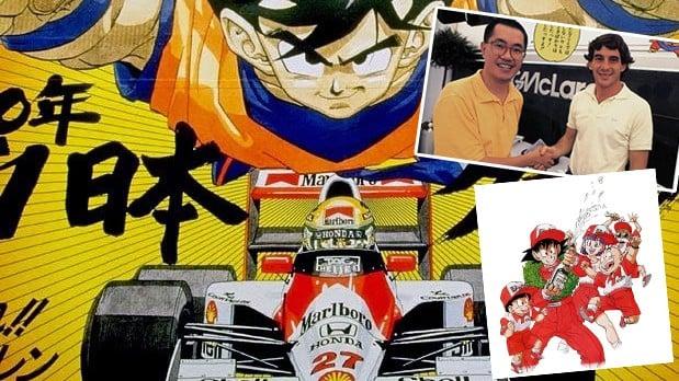 Akira Toryama, Ayrton Senna, ex-piloto de Formula 1 e Goku (Dragon Ball Z) - by .flatout.com.br