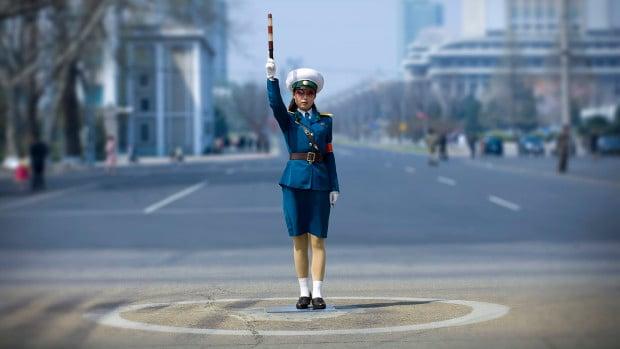 Traffic Officer In Pyongyang, North Korea