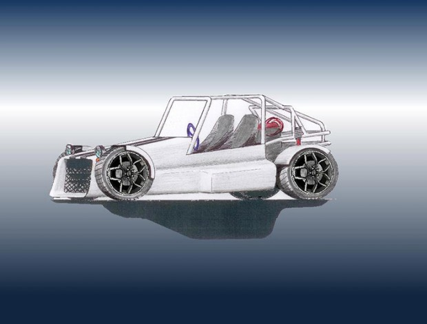 O primeiro desenho feito sobre o projeto do chassis da Miltrilhas
