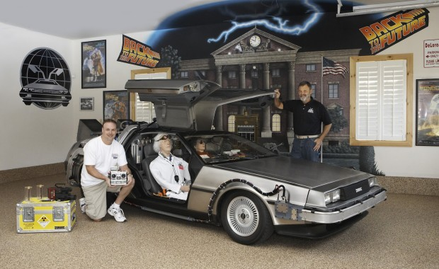 DeLorean Time Machine with Patrick and I in barn April 2012