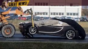 Alguém bateu um Bugatti Chiron – e o guincho está terminando de estragá-lo