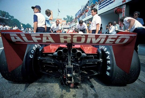 Vittorio Brambilla's Alfa Romeo in pits