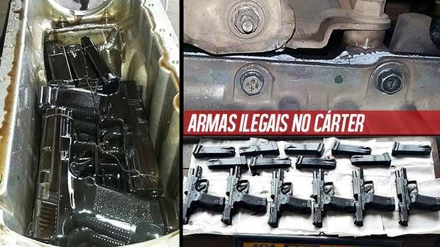 Esses caras esconderam armas ilegais dentro do motor do carro