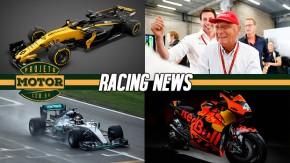 Os novos carros das equipes de F1, testes de chuva em Barcelona, a nova KTM de MotoGP e mais!