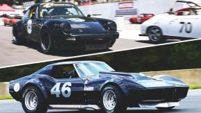 A brutalidade de um Chevrolet Corvette e um Porsche 911 de corrida em Road Atlanta