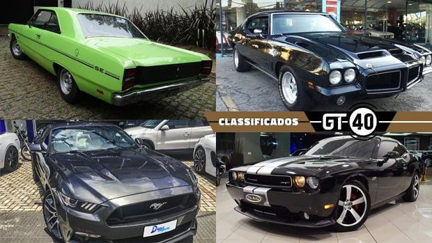 Charger, Mustang, Pontiac, Corvette e outros muscle cars clássicos e modernos à venda no GT40!