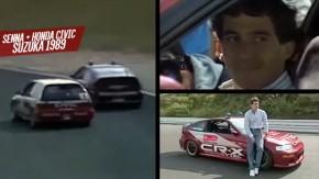 Ayrton Senna mostra como se pilota um Honda Civic em Suzuka