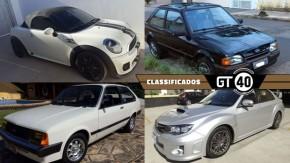 Mini Cooper S Roadster, um Chevette Hatch placa preta, um Subaru WRX original e as novidades do GT40!