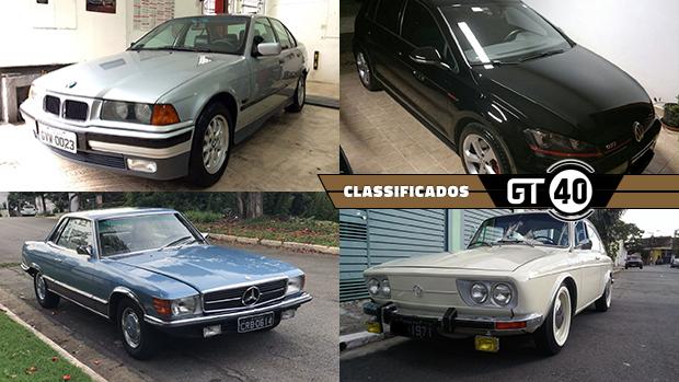 Um BMW 328i manual, um Golf GTI Mk7 original, um elegante Mercedes cupê V8 e as novidades do GT40!