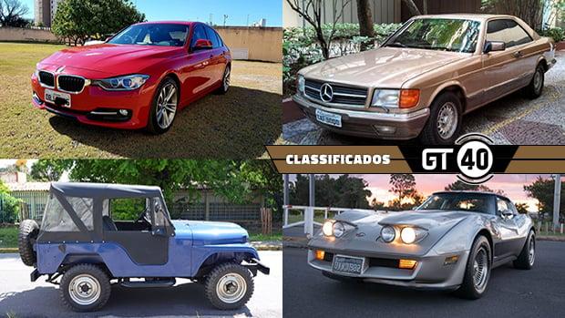 Um BMW 328i quase novo, um Mercedes devorador de autobahn, um Jeep CJ-5 do último ano e mais novidades do GT40