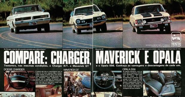 1976 - Ed. 188 - Março - Compare Charger, Maverick e Opala 1