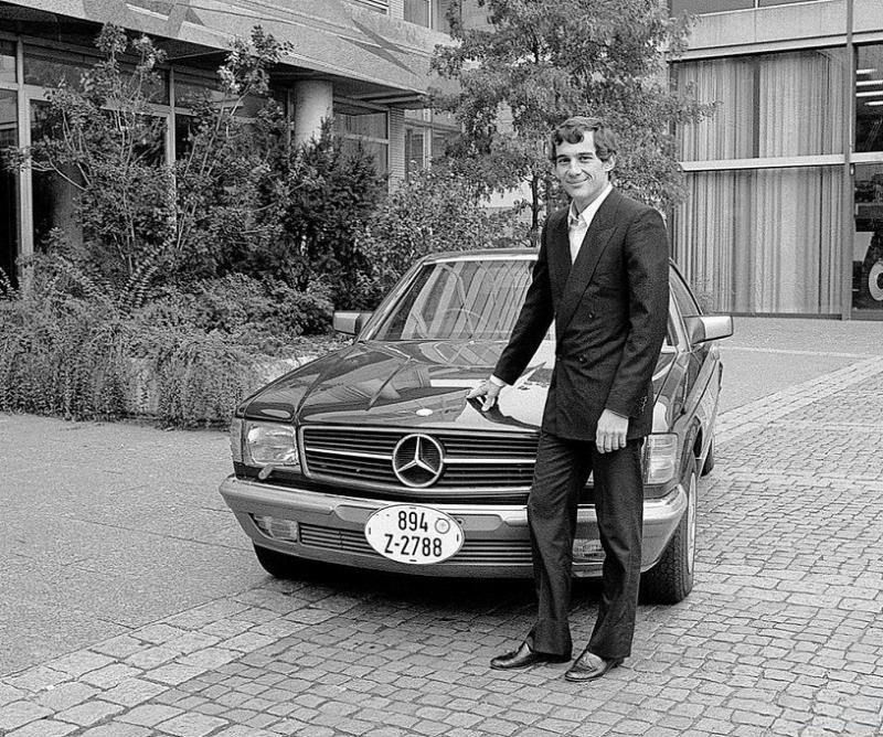 mbC126 85 Ayrton Senna da Silva collecting his brand new RHD 500SEC at the factory, Stuttgart-Un
