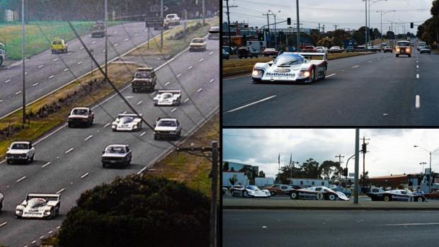 O que estes três Porsche 956 estavam fazendo no meio do trânsito?