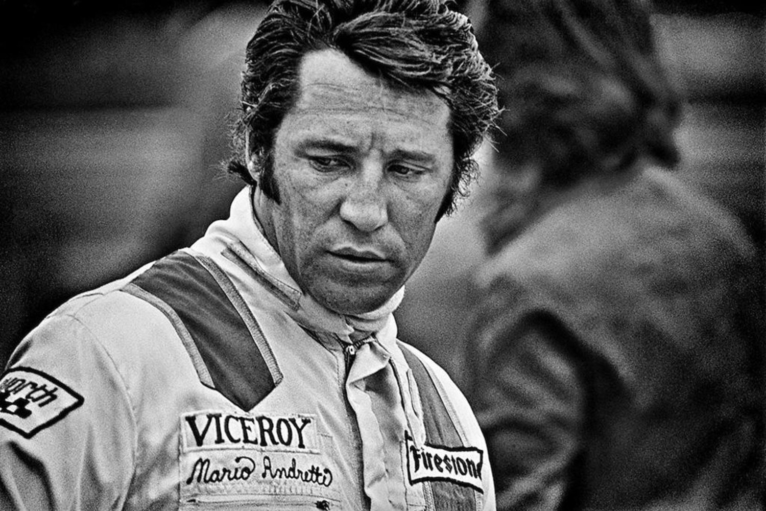 A pensive Mario Andretti searches for more speed from his F! Ferrari 321B2 at the 1972 United States Grand Prix.