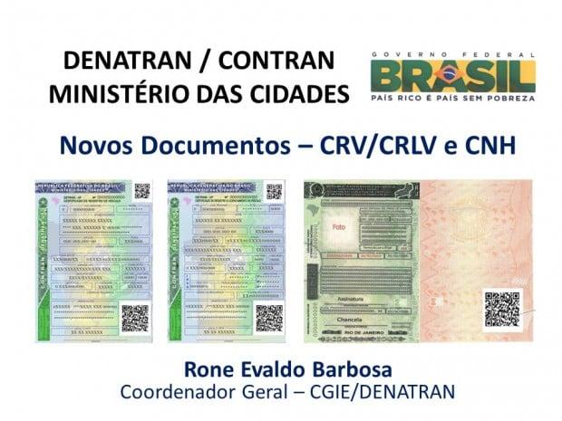 DENATRAN / CONTRAN MINISTÉRIO DAS CIDADES. Novos Documentos – CRV/CRLV e CNH. Rone Evaldo Barbosa. Coordenador Geral – CGIE/DENATRAN.