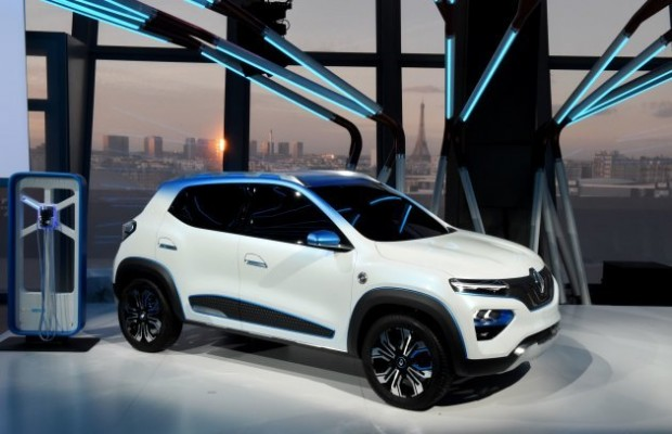 "The Renault K-ZE for the Chinese market is presented during a world premiere as part of an Renault ""electric evening"" on October 1, 2018 on the eve of the first press day of the Paris Motor Show. (Photo by ERIC PIERMONT / AFP) (Photo credit should read ERIC PIERMONT/AFP/Getty Images)"